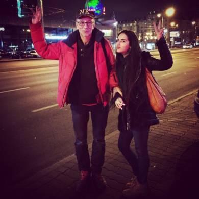 Катя Мирецкая и Геннадий Працевич на съёмках рекламы в Москве